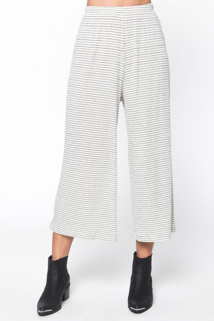 Everly Striped rib knit cropped pant