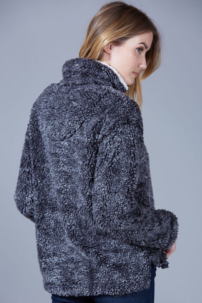 Peach Love CA Solid Sherpa Pullover