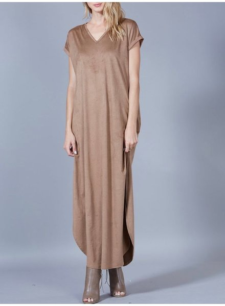 Peach Love CA Faux Suede Maxi Dress