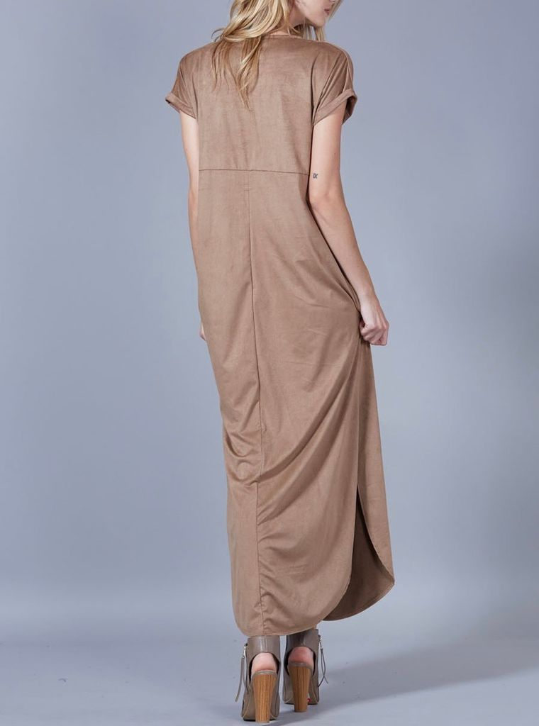 Peach Love CA Faux Suede Maxi Dress
