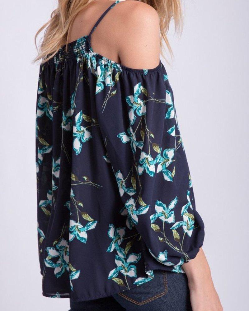 Peach Love CA Floral Print Open Shoulder top