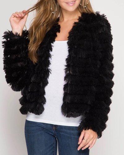 She & Sky Faux Fur Layered Jacket
