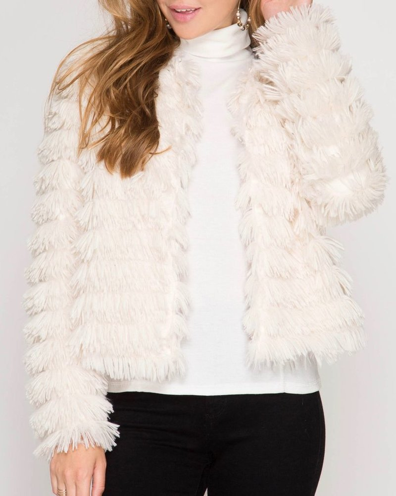 She & Sky Faux Fur Layered Jacket