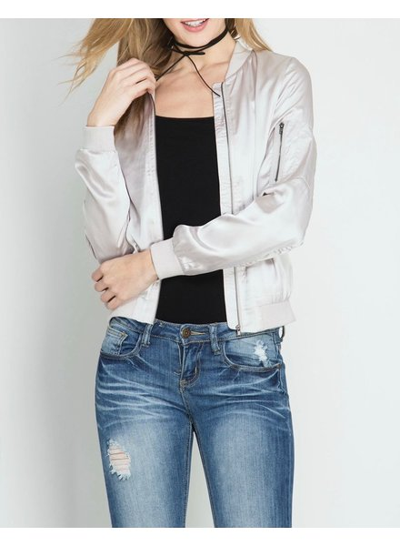 She & Sky Satin Bomber Jacket