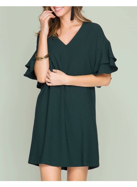 She & Sky Double Ruffled Sleeve Shift Dress
