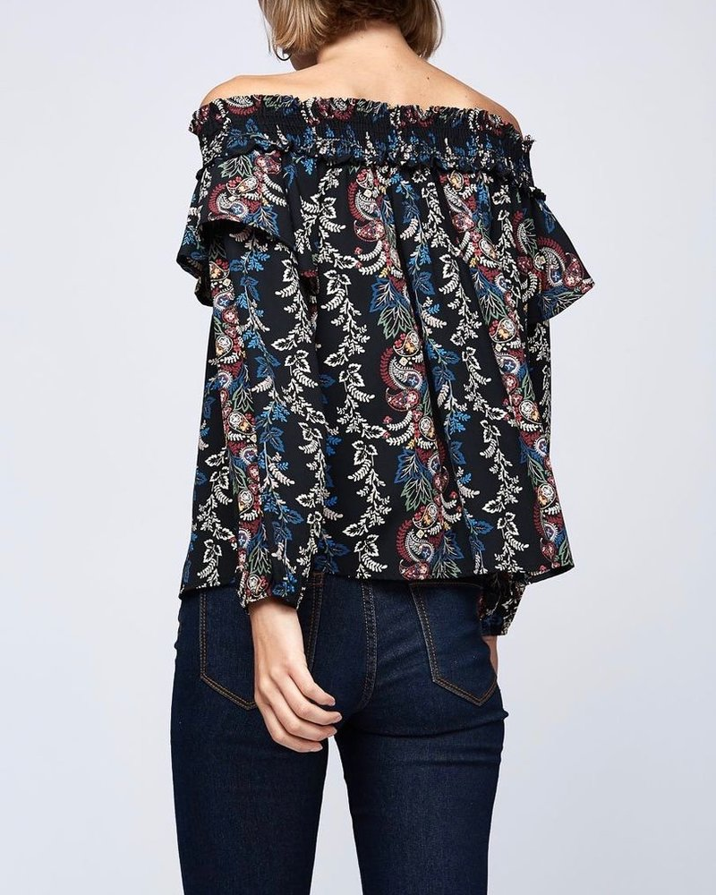 Peach Love CA Off the Shoulder Floral Print Top