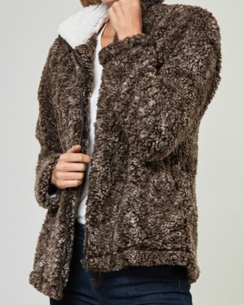 Fantastic Fawn Faux Sherpa Full Zip Jacket