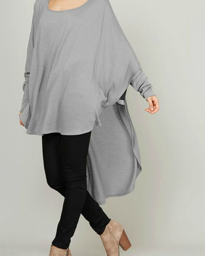 Fantastic Fawn Oversized, hi-low knit top