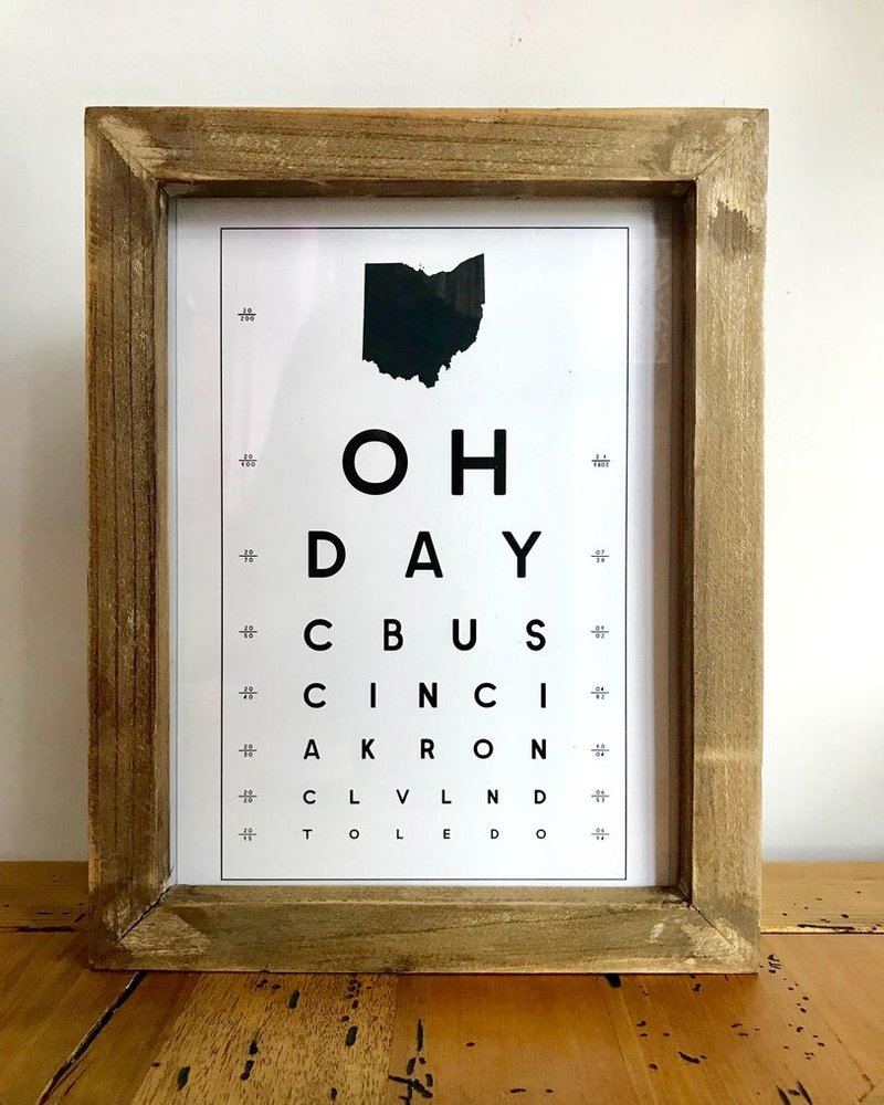 Contstructed Matter Framed Ohio eye Chart print