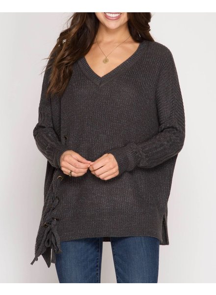 She & Sky Long sleeve asymmetrical pullover