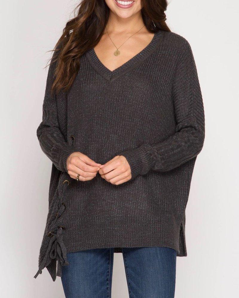 She & Sky Long sleeve asymmetrical pullover