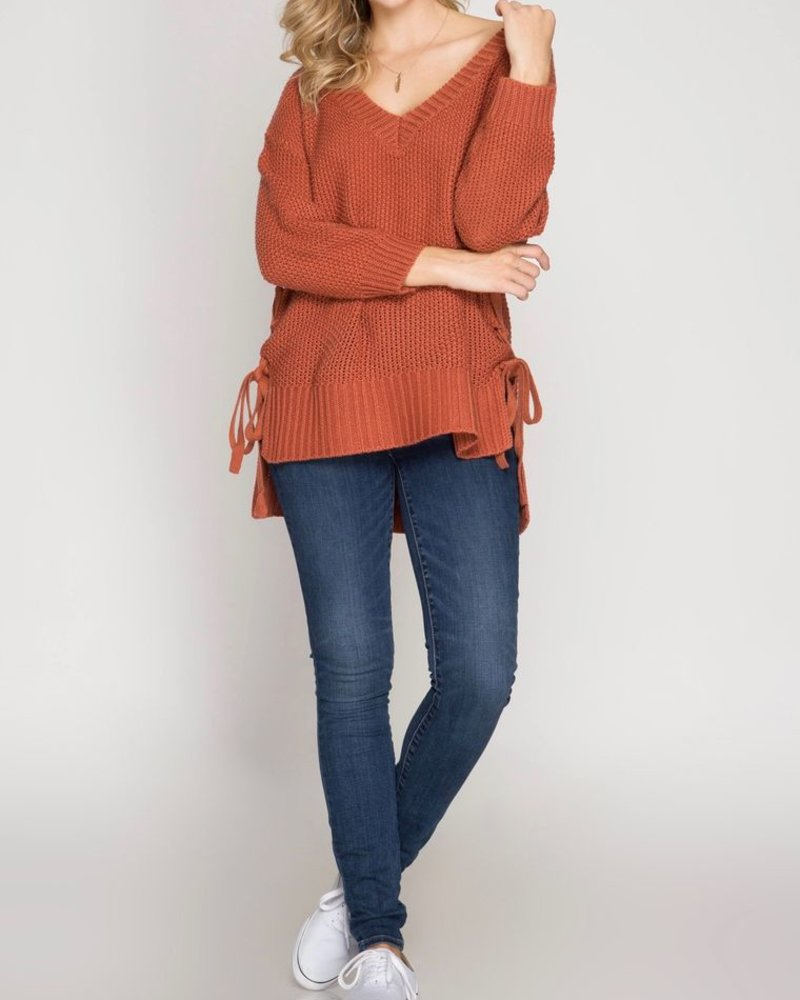 She & Sky Long sleeve side lace sweater