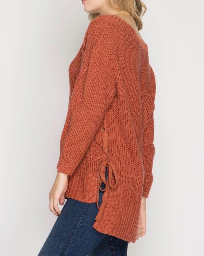 She & Sky Long sleeve side lace sweater