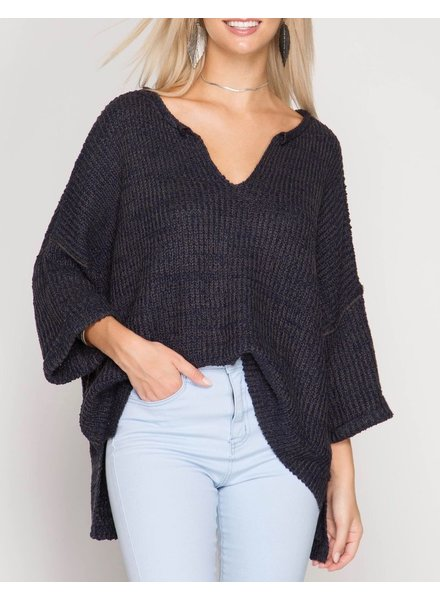 She & Sky V-Neck Oversized Sweater