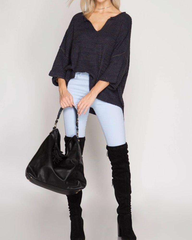 She & Sky V-Neck Oversized Sweater