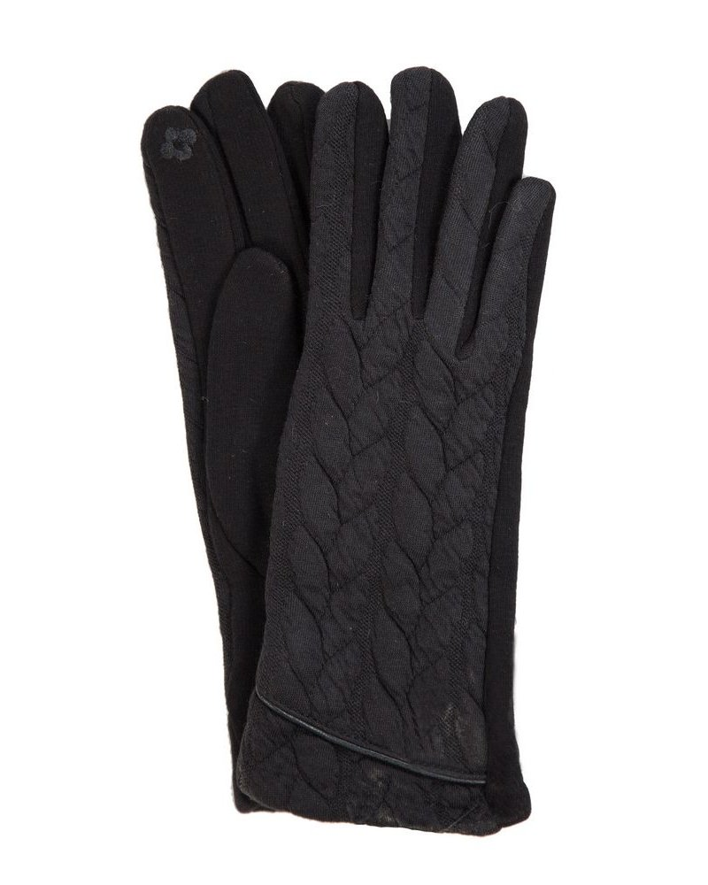 Trend Boutique Cable Knit Black Smart Gloves