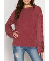 She & Sky Sleeve Tie Sweater