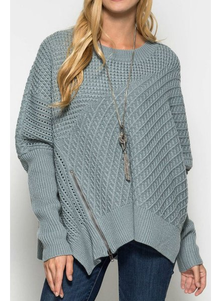 She & Sky Front Zip Sweater