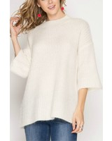 She & Sky 3/4 Sleeve Tunic Sweater