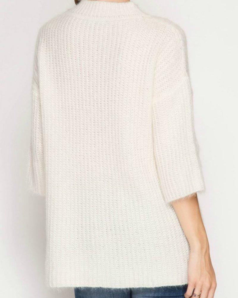 She & Sky 3/4 Sleeve Tunic Sweater