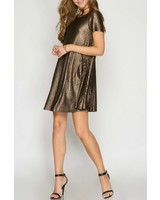 She & Sky Metallic Ribbed Dress