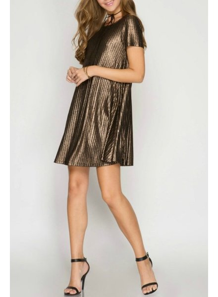 She & Sky Metallic Ribbed Dress