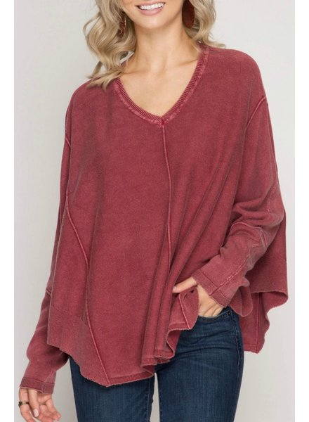 She & Sky Long Sleeve Stone Washed Top