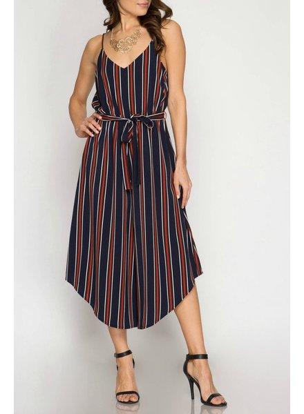 She & Sky Striped Wideleg Jumpsuit