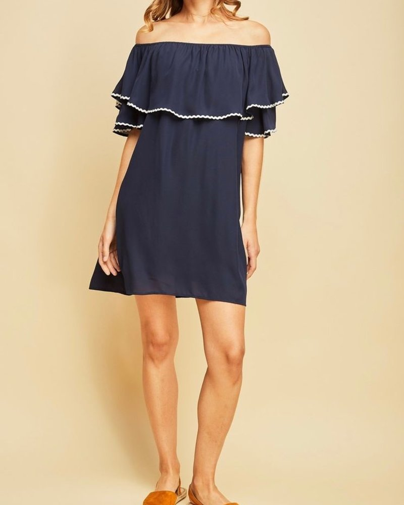 Entro Off shoulder ruffle dress