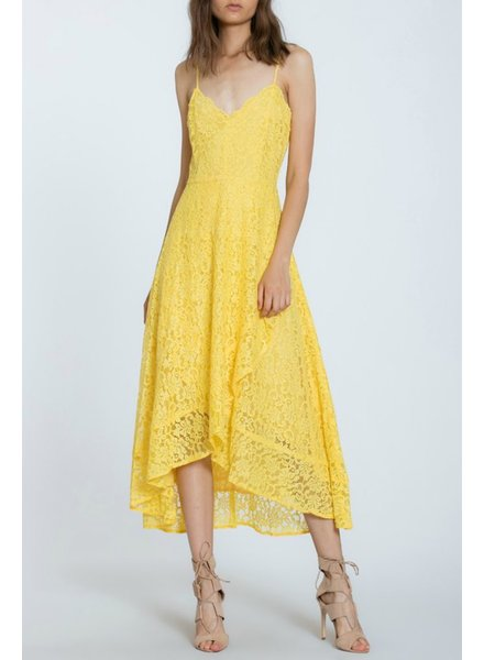 The Room Label Lace Overlay Midi Dress