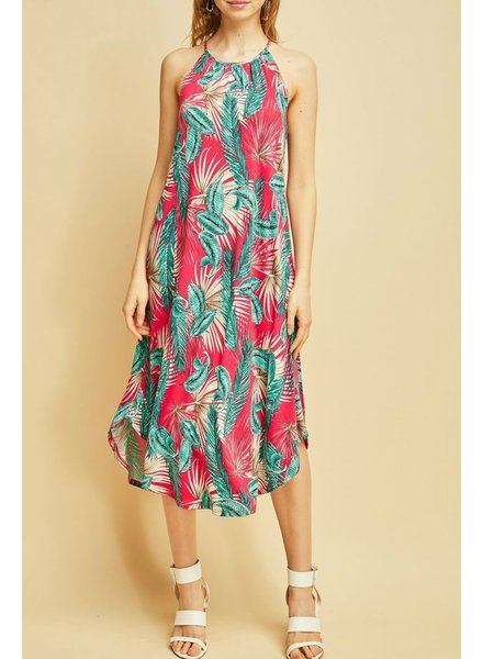 Entro Tropical print midi dress