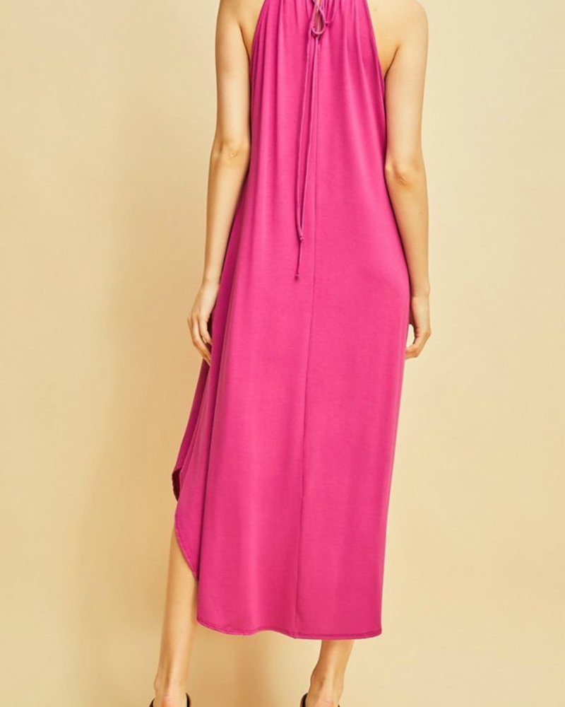 Entro Drawstring halter dress