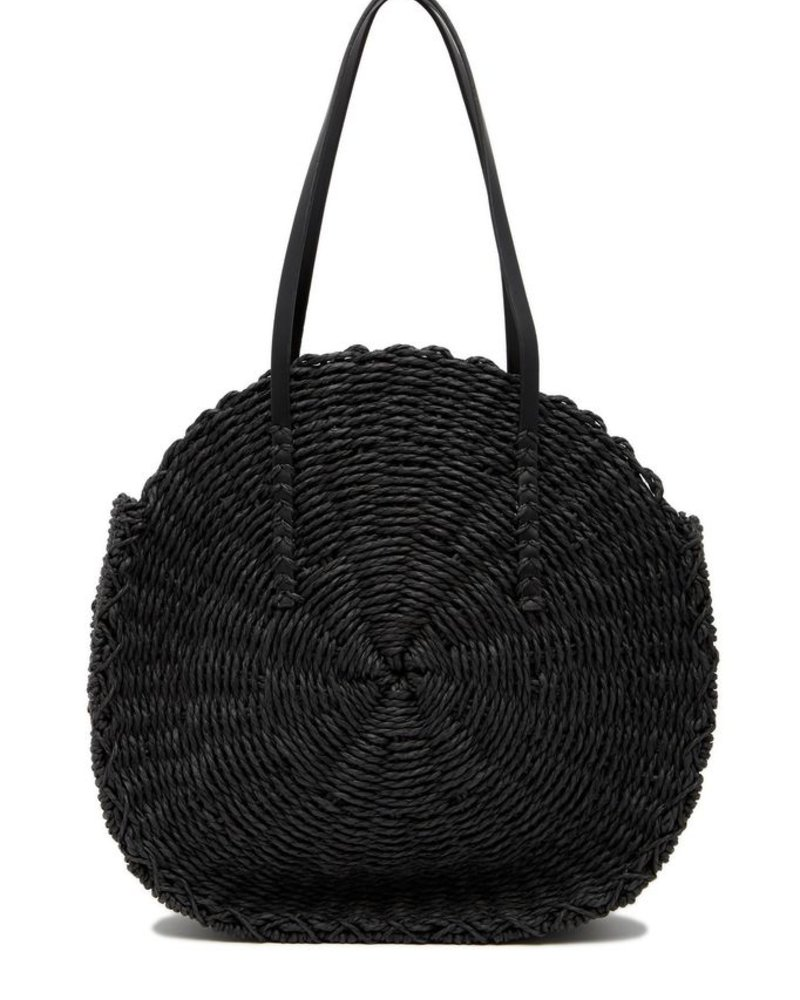 Melie Bianco Ciara Black Straw Shoulder Bag