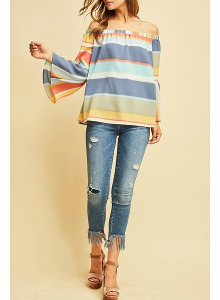 Entro Off the Shoulder bell sleeve top