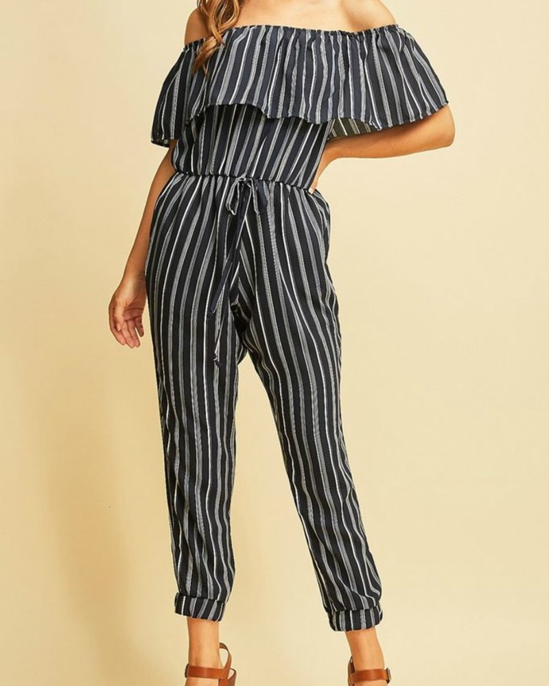 Entro Striped High Waist Jumpsuit