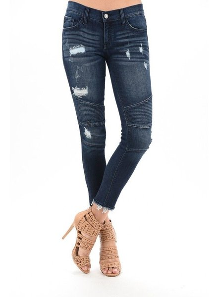 KanCan Dark Distressed skinny moto denim
