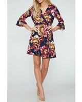Peach Love CA Half Sleeve Floral Wrap Dress