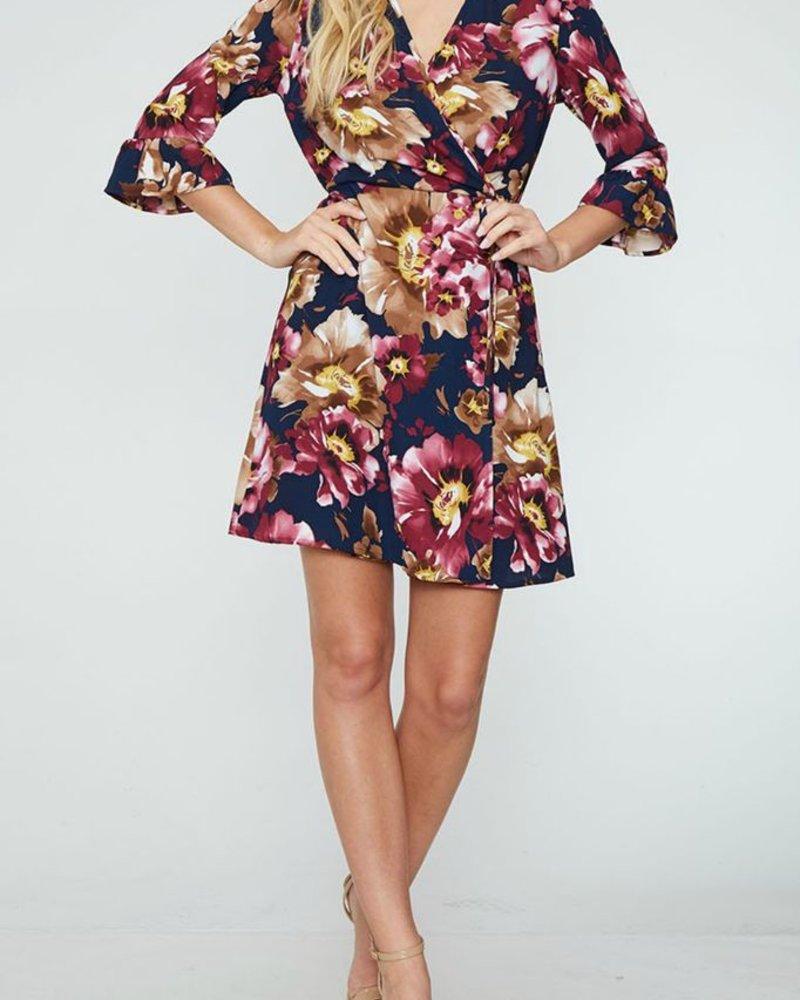 Peach Love CA Half Sleeve Floral Wrap Dress