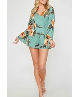 Peach Love CA Long Sleeve Floral Romper