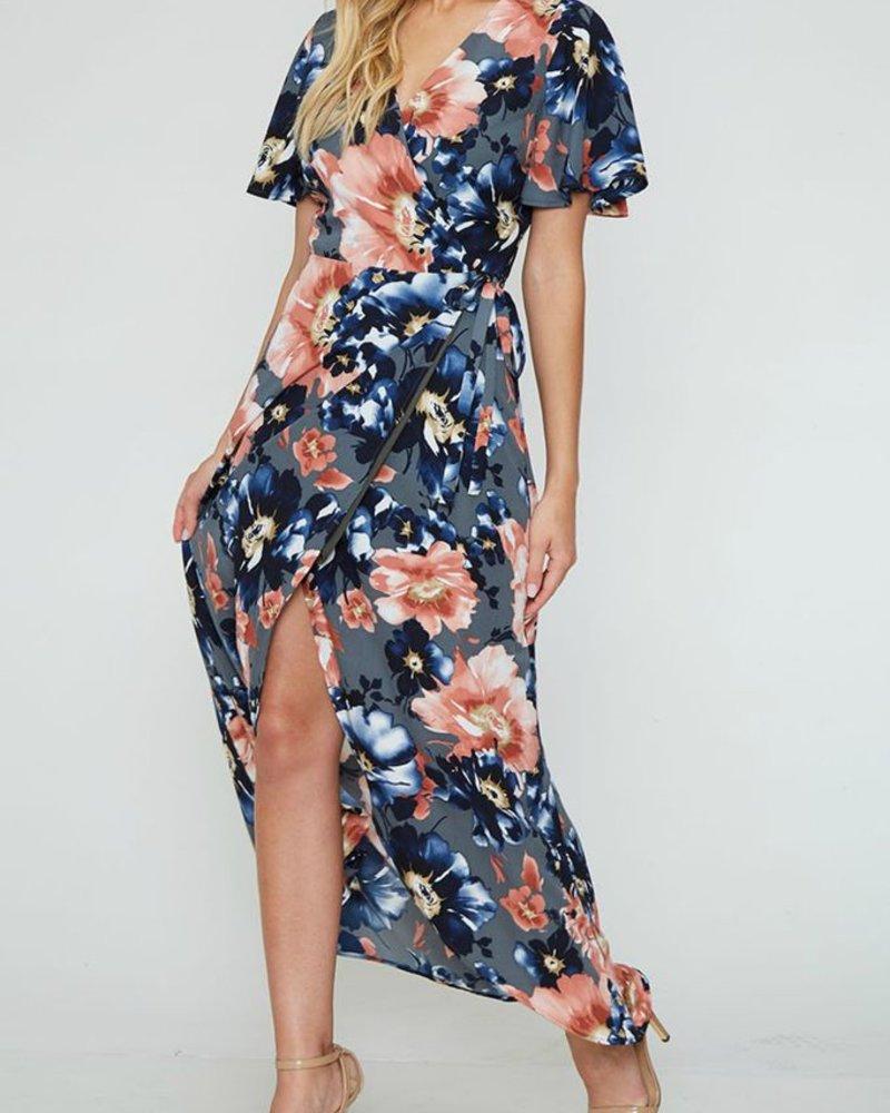 Peach Love CA Floral Print Maxi Dress