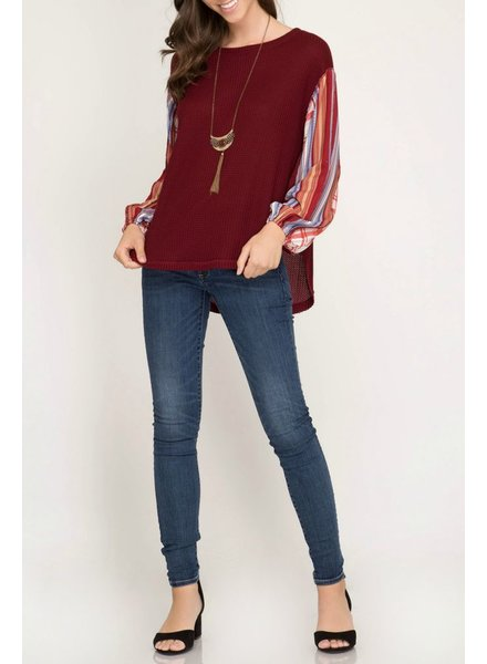 She & Sky Contrast Sleeve Thermal Top