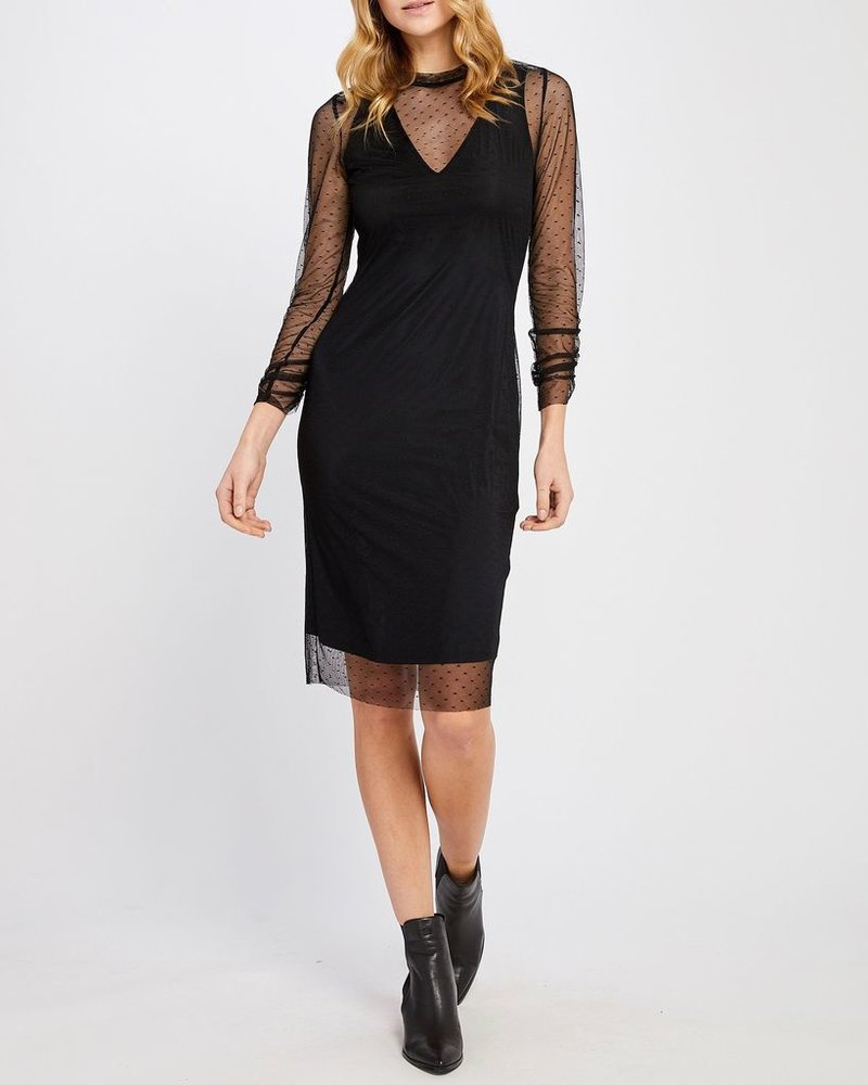 Gentle Fawn Dotted Mesh Sleeve Dress