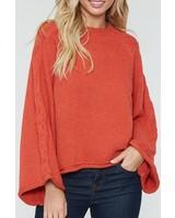 Peach Love CA Bell Sleeve Sweater