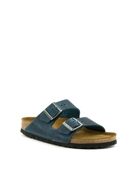 Birkenstock Arizona Insignia Blue Leather Soft Footbed Narrow Width