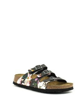 Birkenstock Florida Painted Bloom Black Florida Soft Footbed Narrow Width