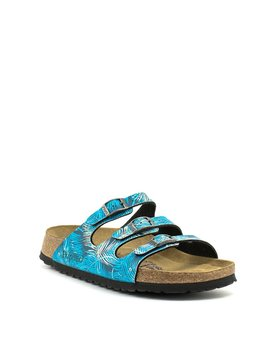 Birkenstock Florida Tropical Leaf Blue Soft Footbed Narrow Width