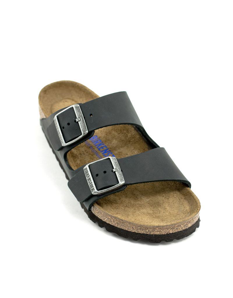 4e6cc05d872 Birkenstock Birkenstock Arizona Black Oiled Leather Soft Footbed Regular  Width