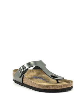 Birkenstock Gizeh Anthracite Metallic Leather Soft Footbed Regular Width