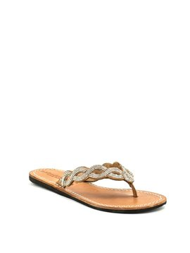 Laidback London Nevis Flat Sandal Mid Brown/Silver
