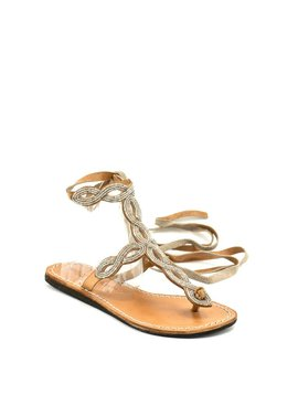 Laidback London Henning Flat Sandal Mid Brown/Silver
